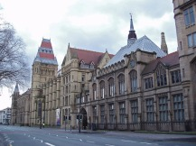 manchester; lancashire; landmark; universitry; building; gothic; gothic revival; tower; education; eductional; establishment; road; oxford road, learning, outside, big, exterior